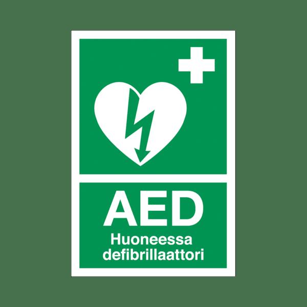 Huoneessa defibrillaattori
