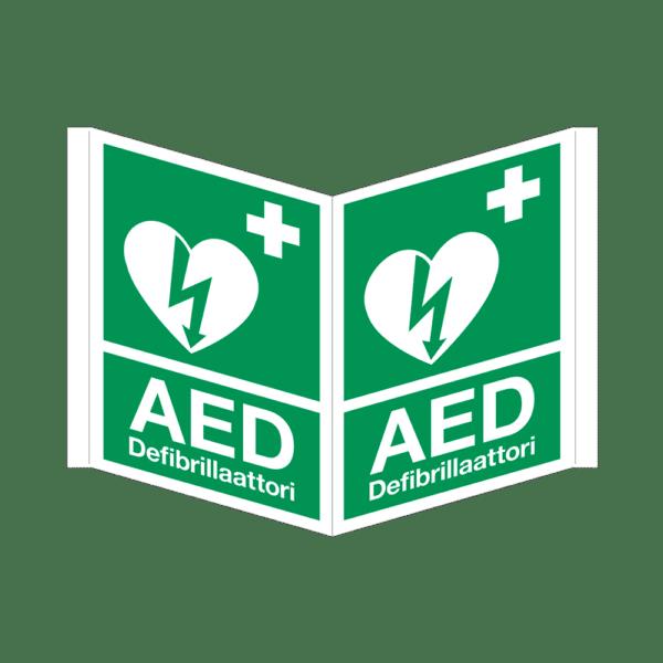 AED-kyltti, kolmikulmainen, heijastava