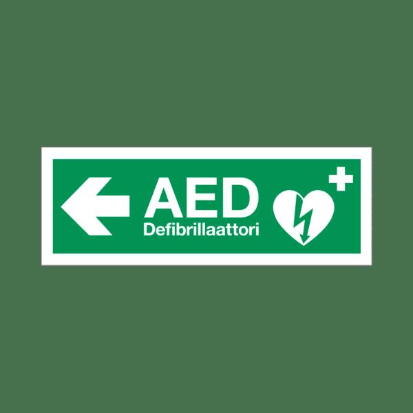 AED-kyltti – heijastava muovi – nuoli vasemmalle