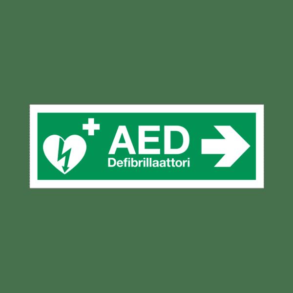 AED-kyltti – heijastava muovi – nuoli oikealle