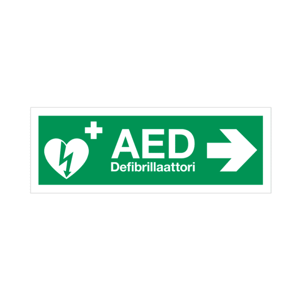 AED-kyltti – tarra – nuoli oikealle