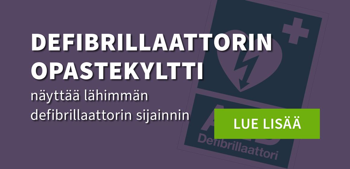 Defibrillaattorin opastekyltti